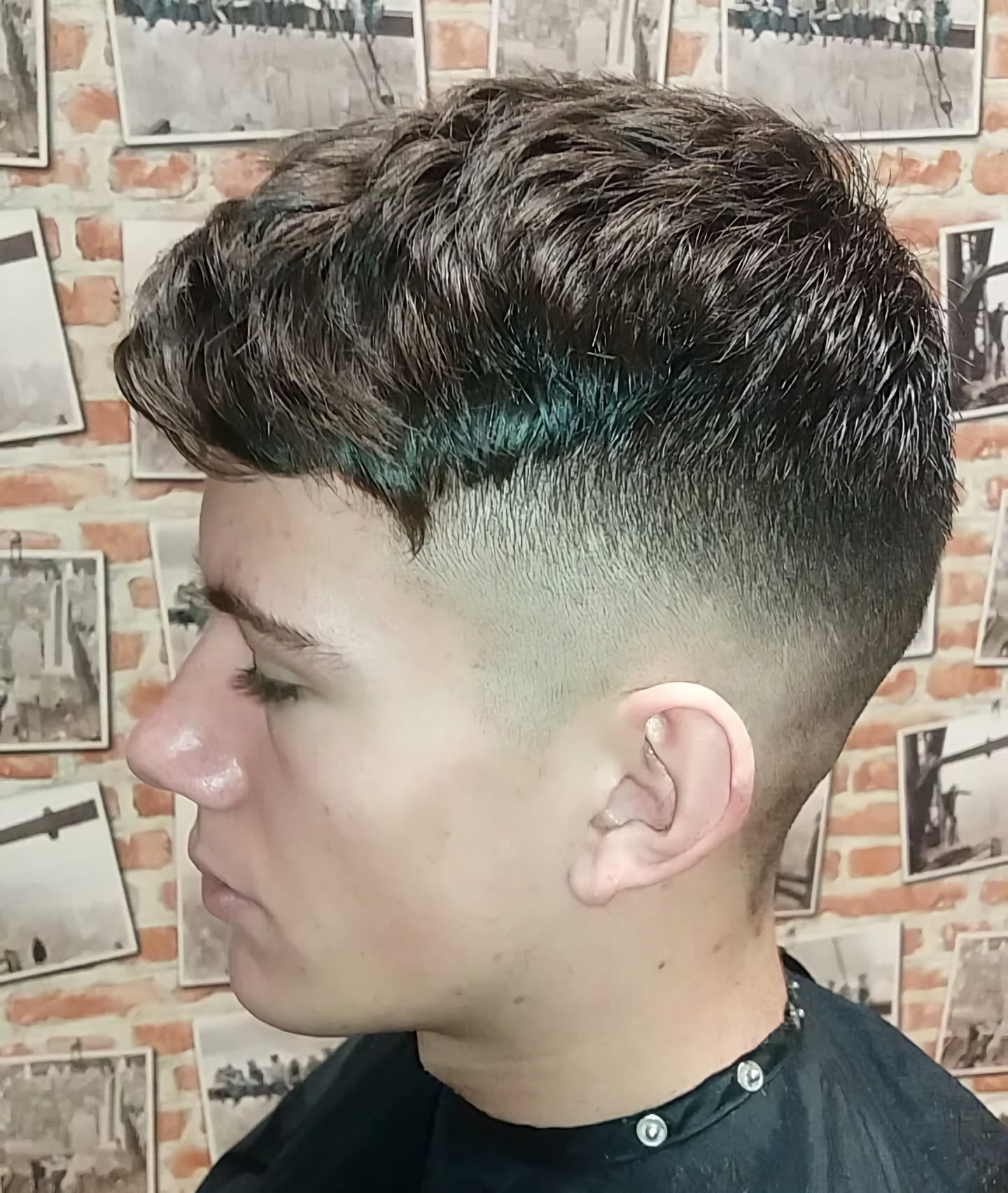 Fade with Textured Medium Length Hair on Top