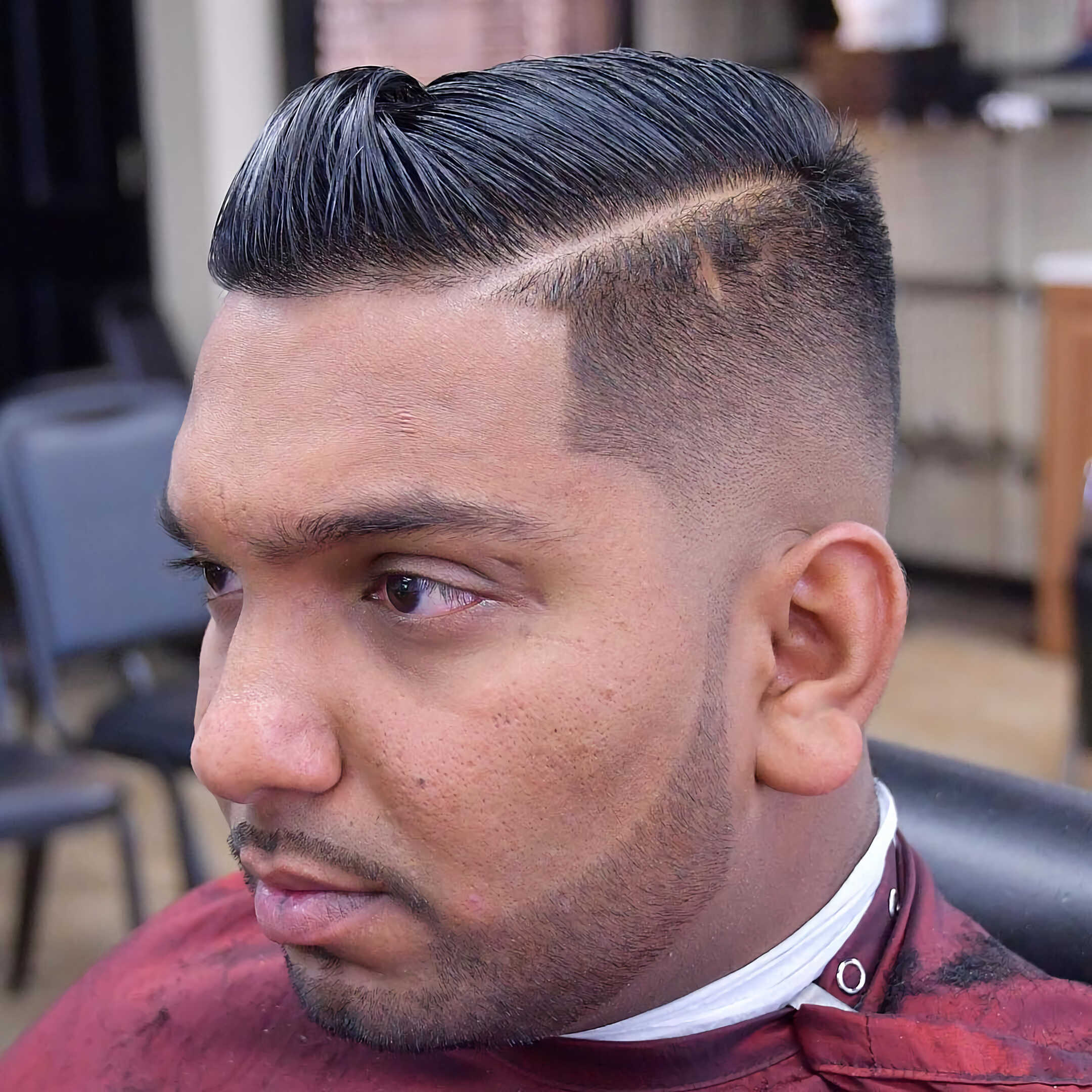 Hard Part Pompadour with Skin Fade