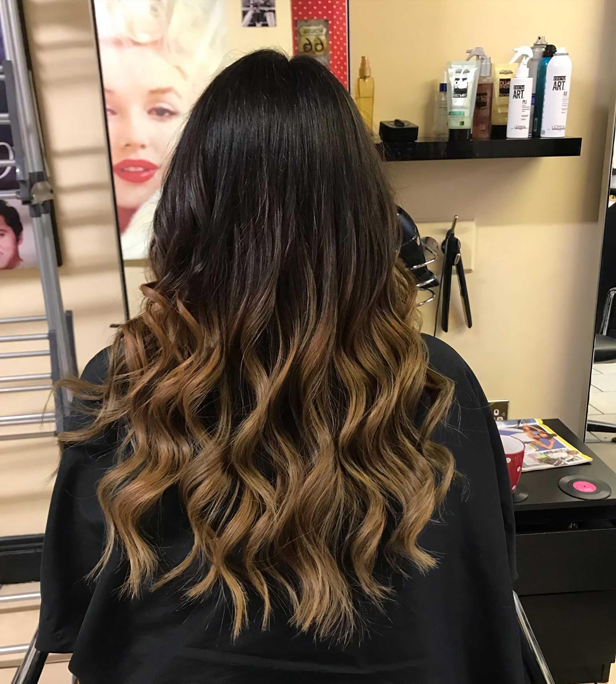 длинные волосы с шоколадным окрашиванием омбре