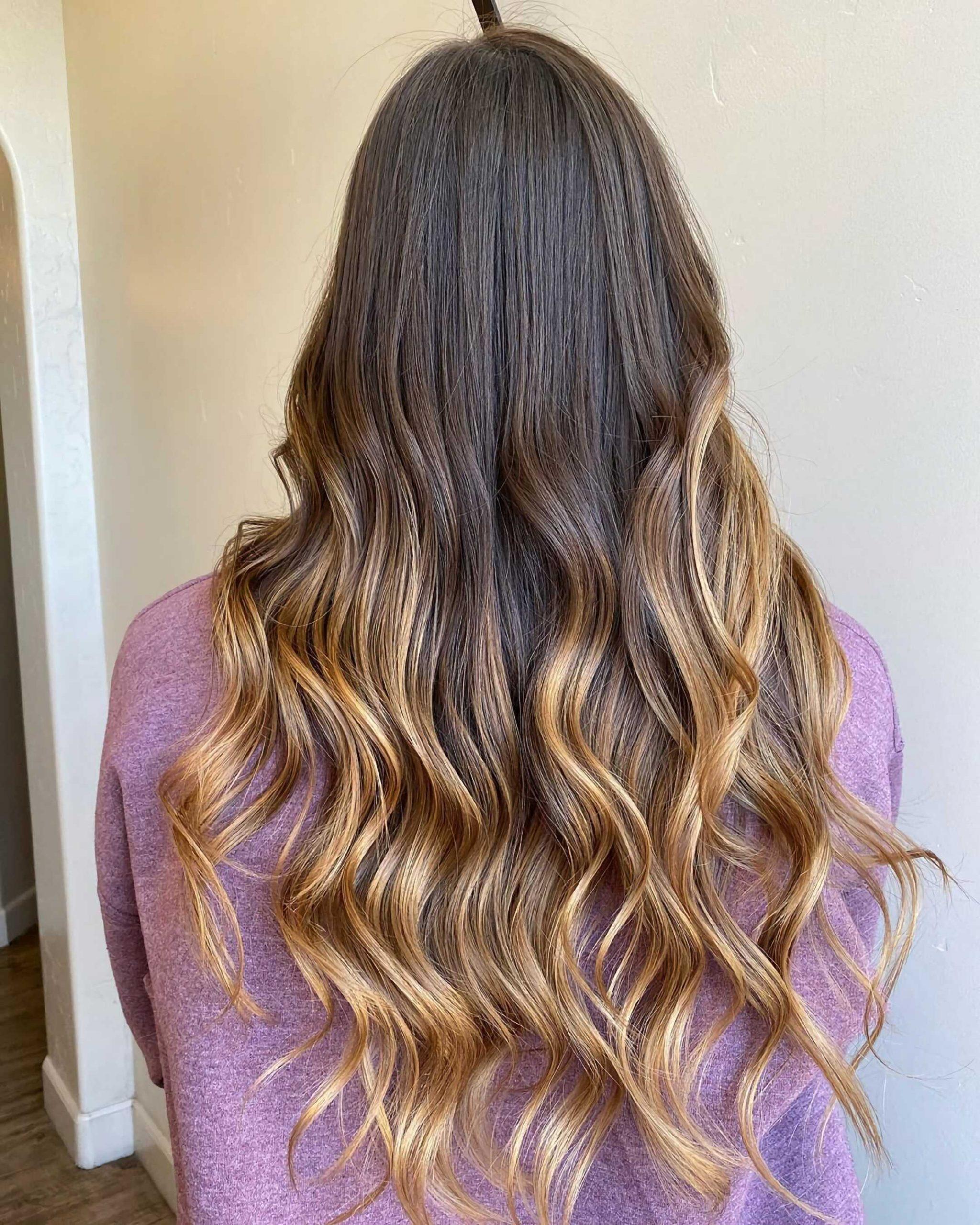 длинные волосы с окрашиванием омбре