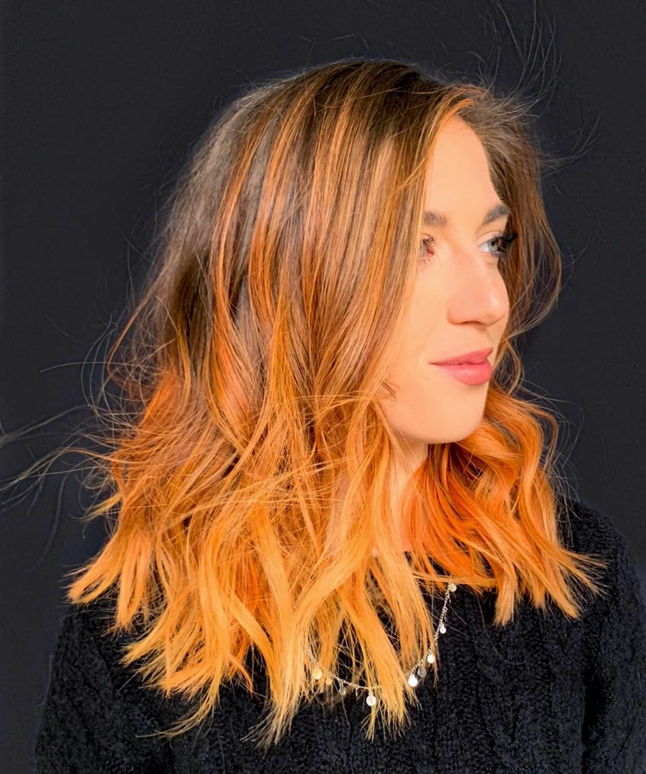 оранжевые волосы с омбре