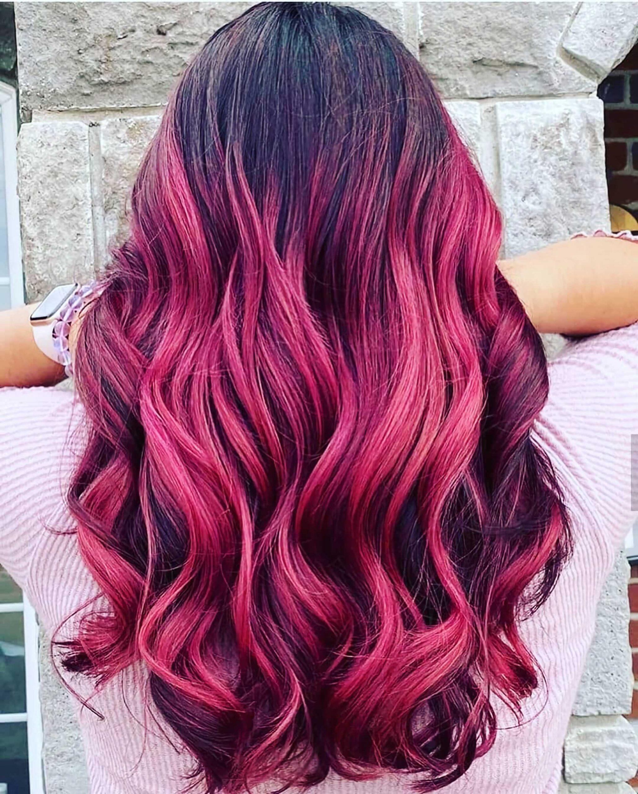 красный омбре на длинные волосы