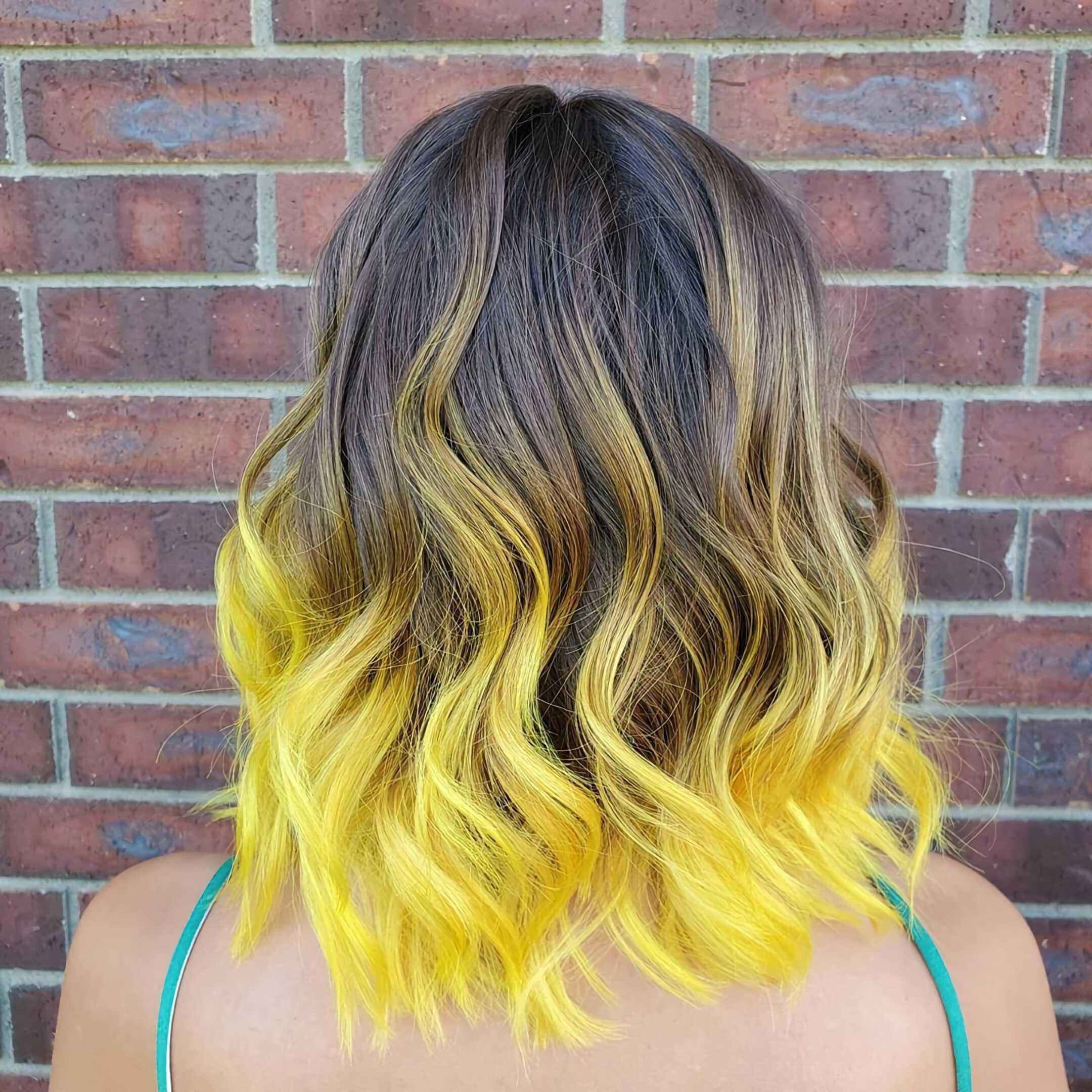 желтые волосы с омбре