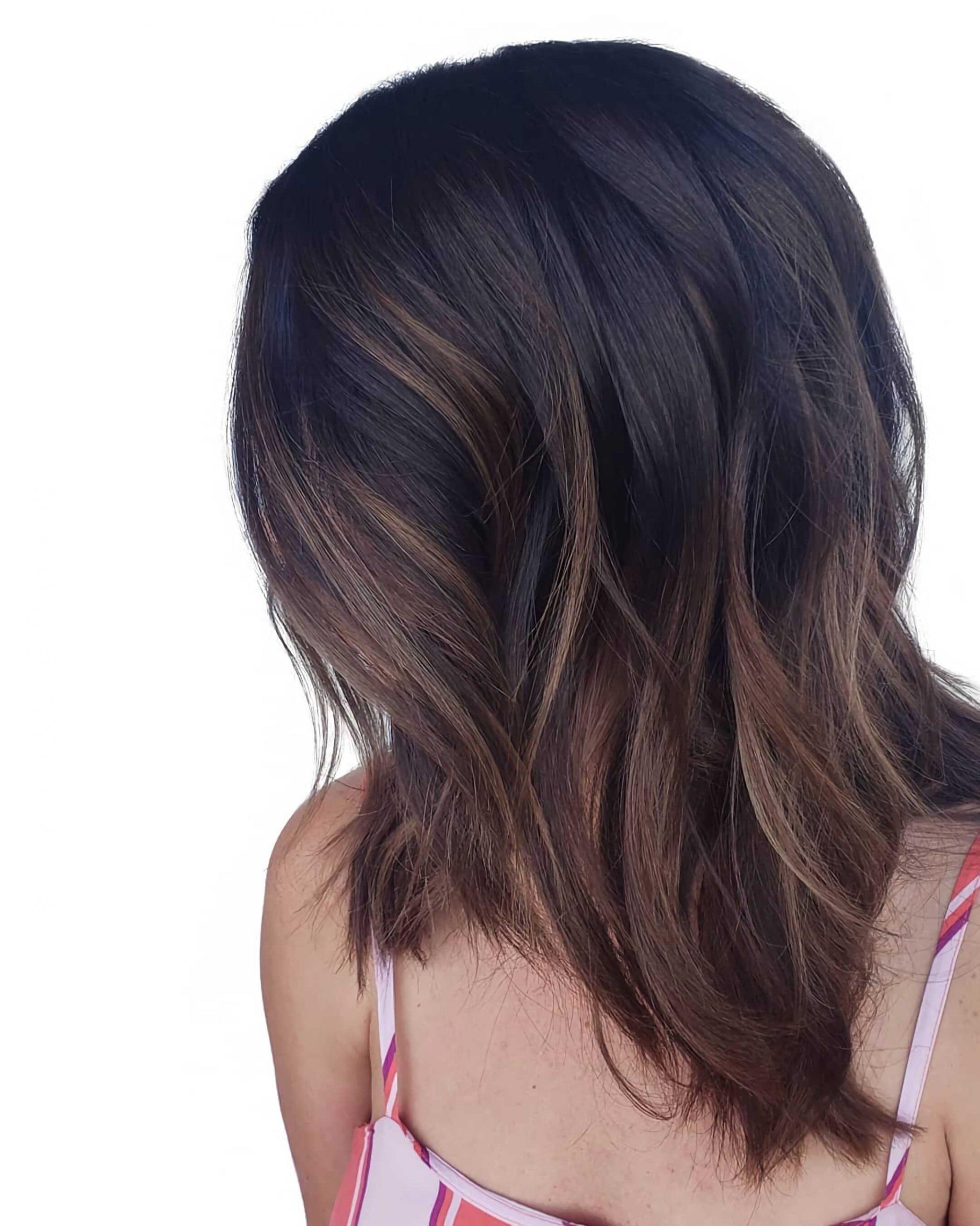 модный балаяж на темные волосы