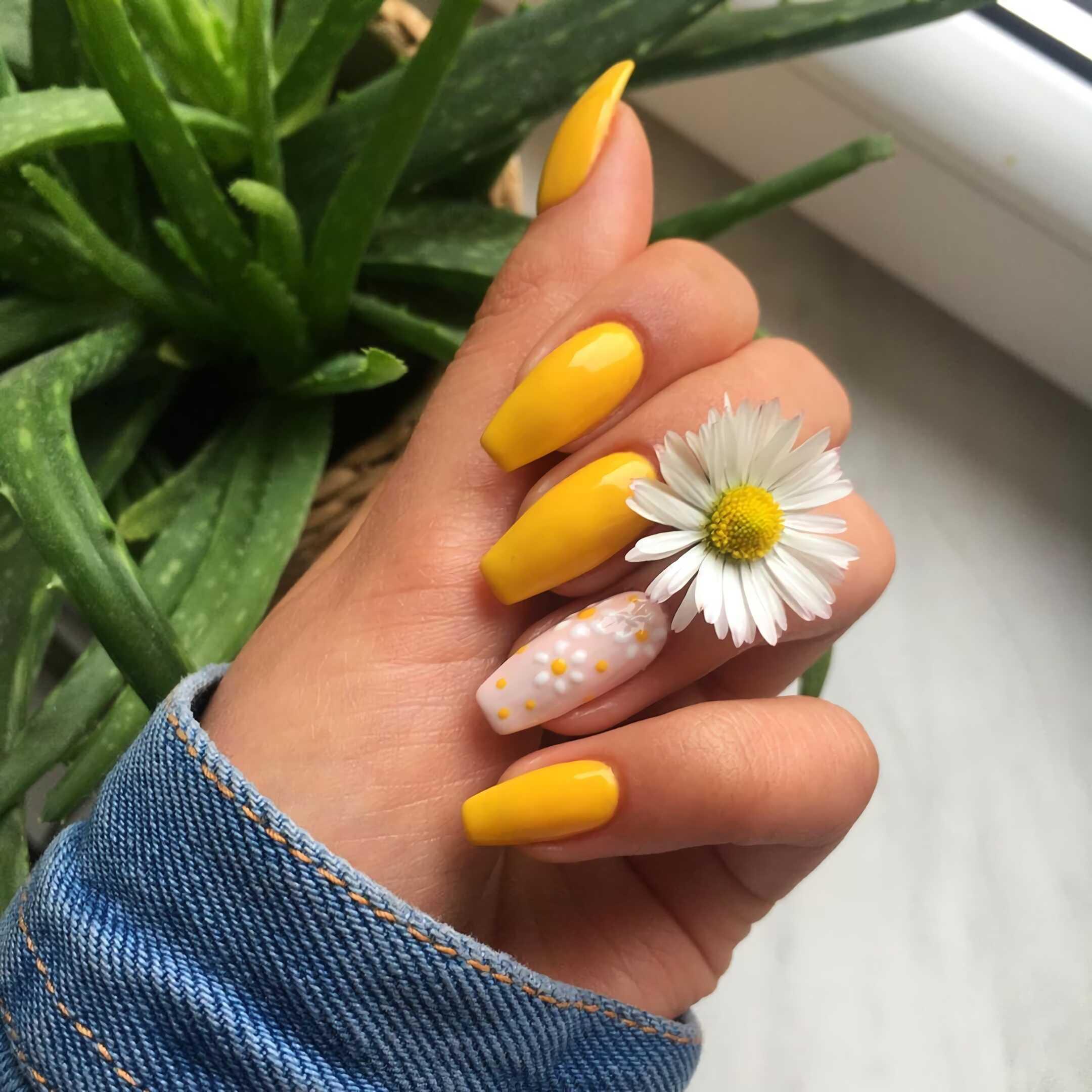 стильные желтые ногти с акцентированным маникюром с ромашками