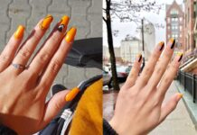 красивый, яркий оранжевый маникюр