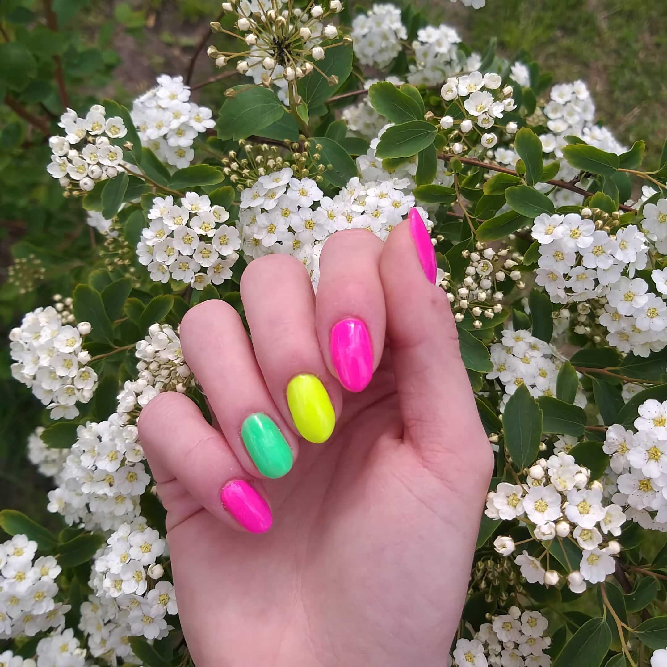 разноцветный маникюр на короткие ногти