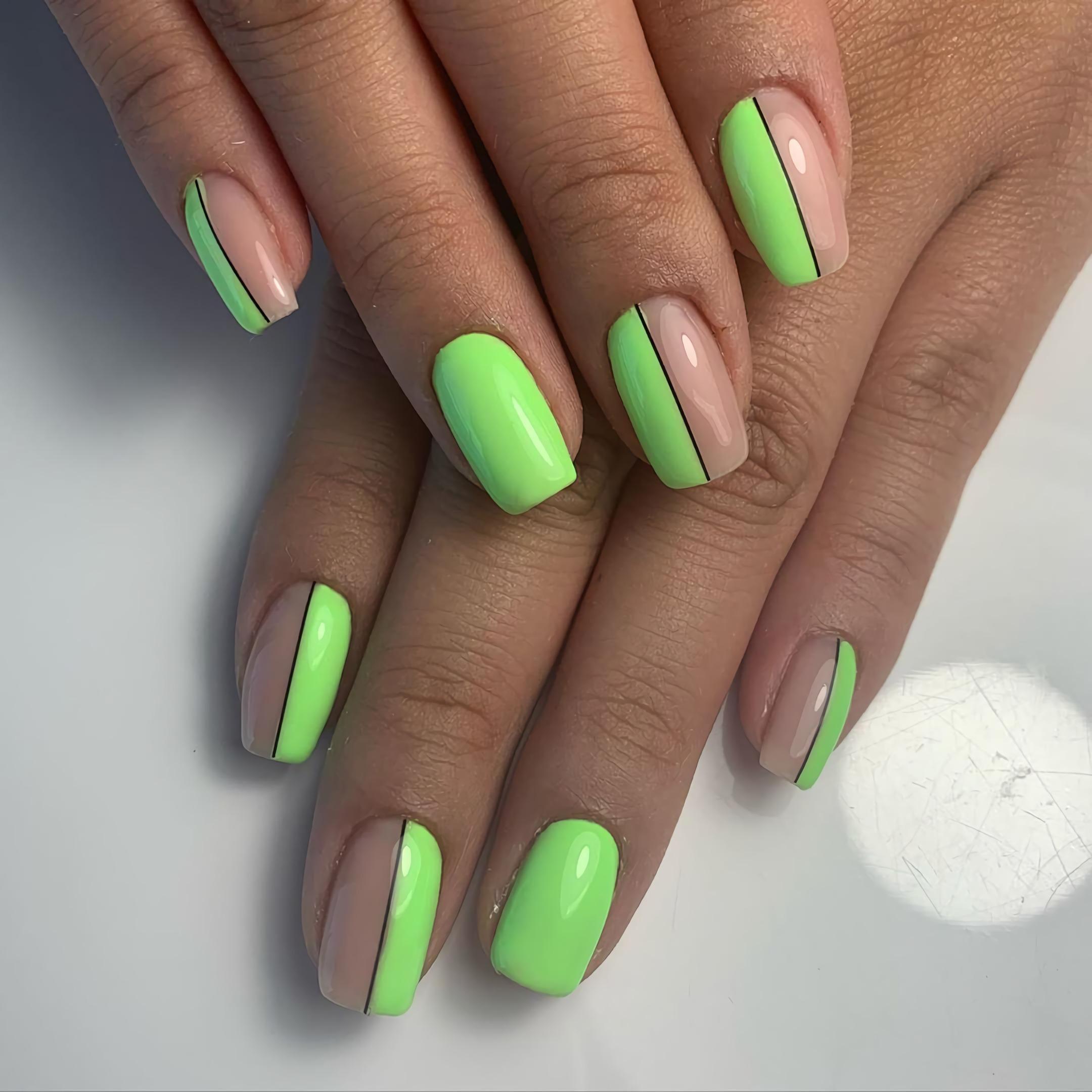 якрий зеленій маникюр на короткие ногти