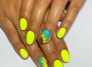 желтые короткие, неоновые ногти
