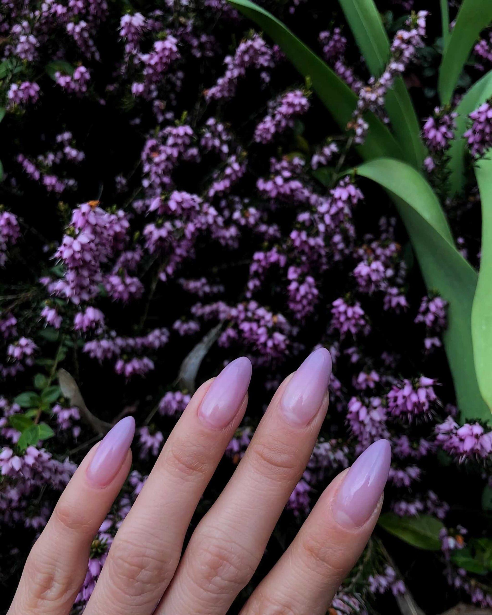 сиреневые ногти миндальной формы