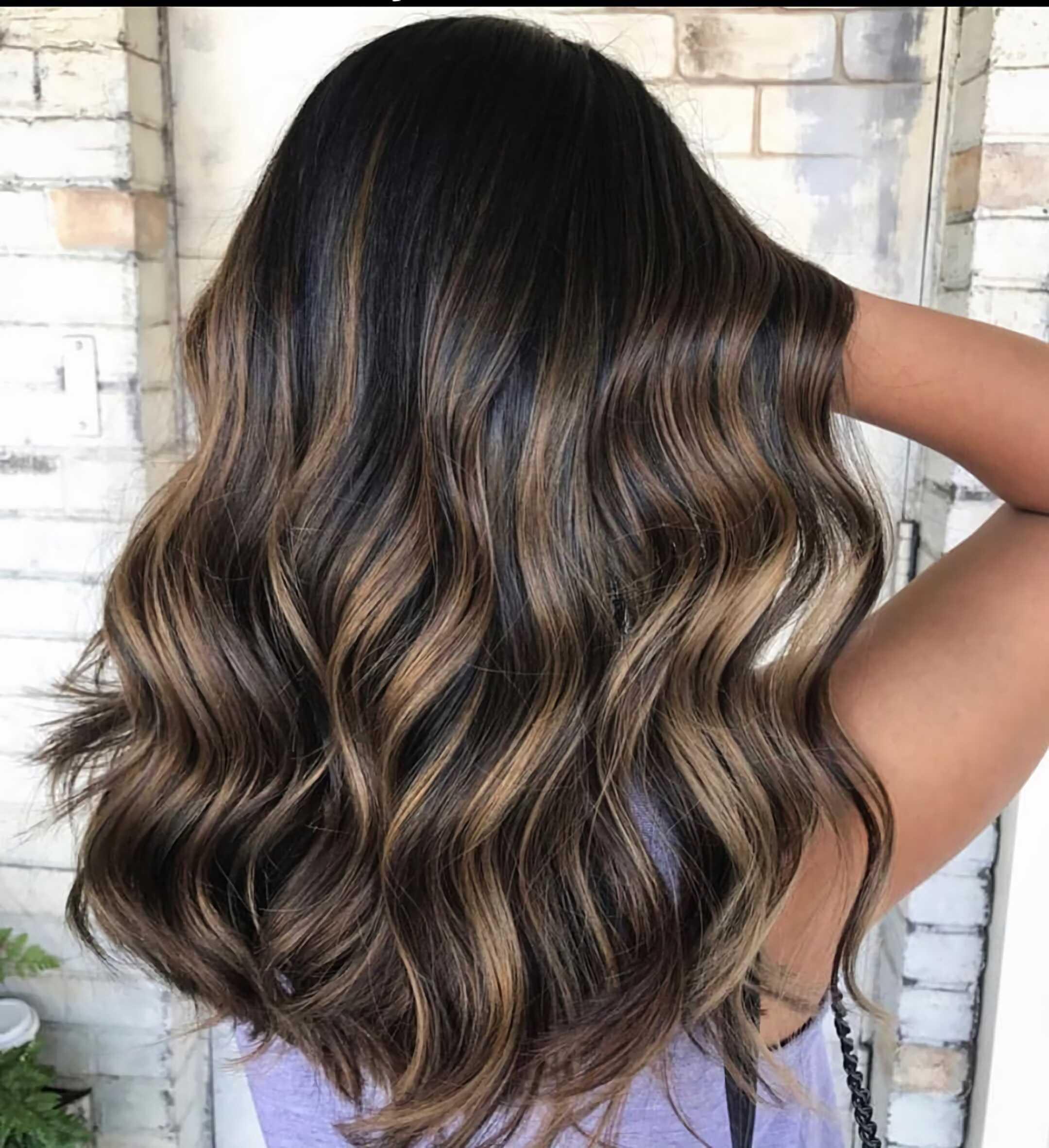 стильный балаяж омбре на длинные волосы