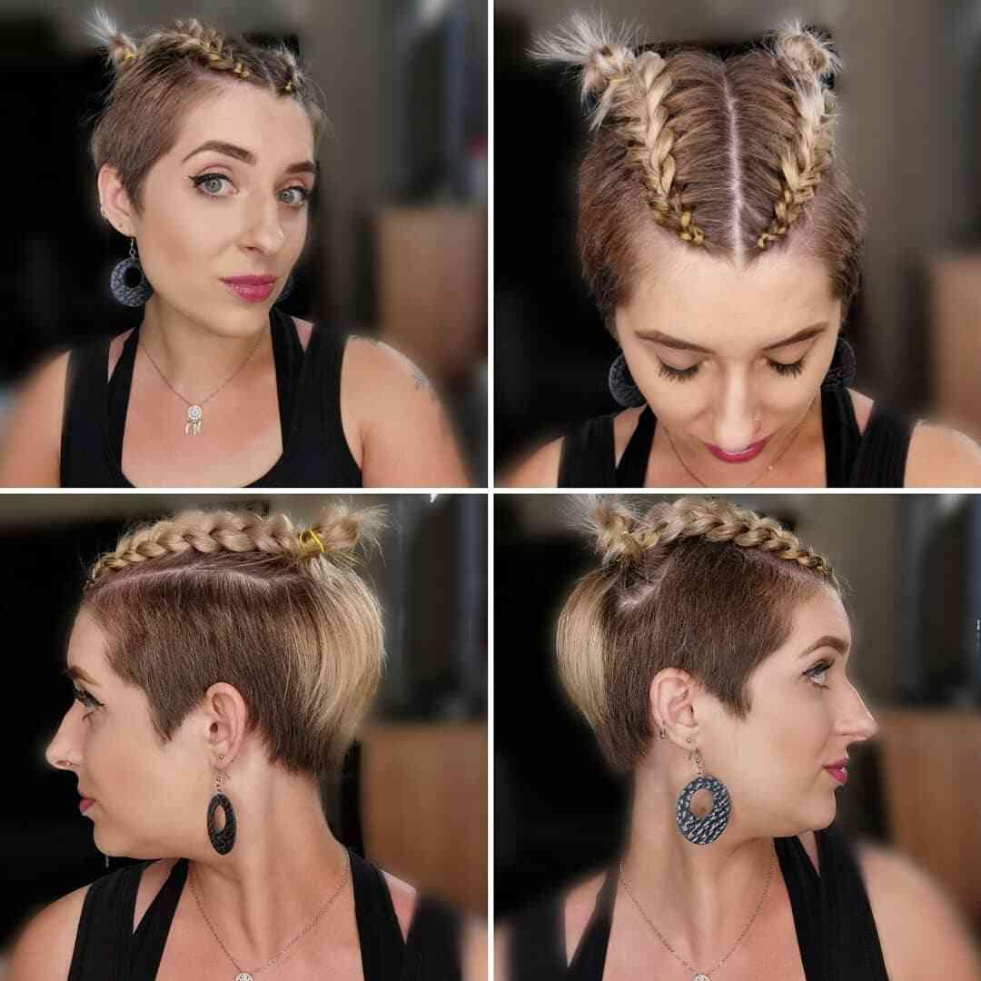 прическа с косами для коротких волос