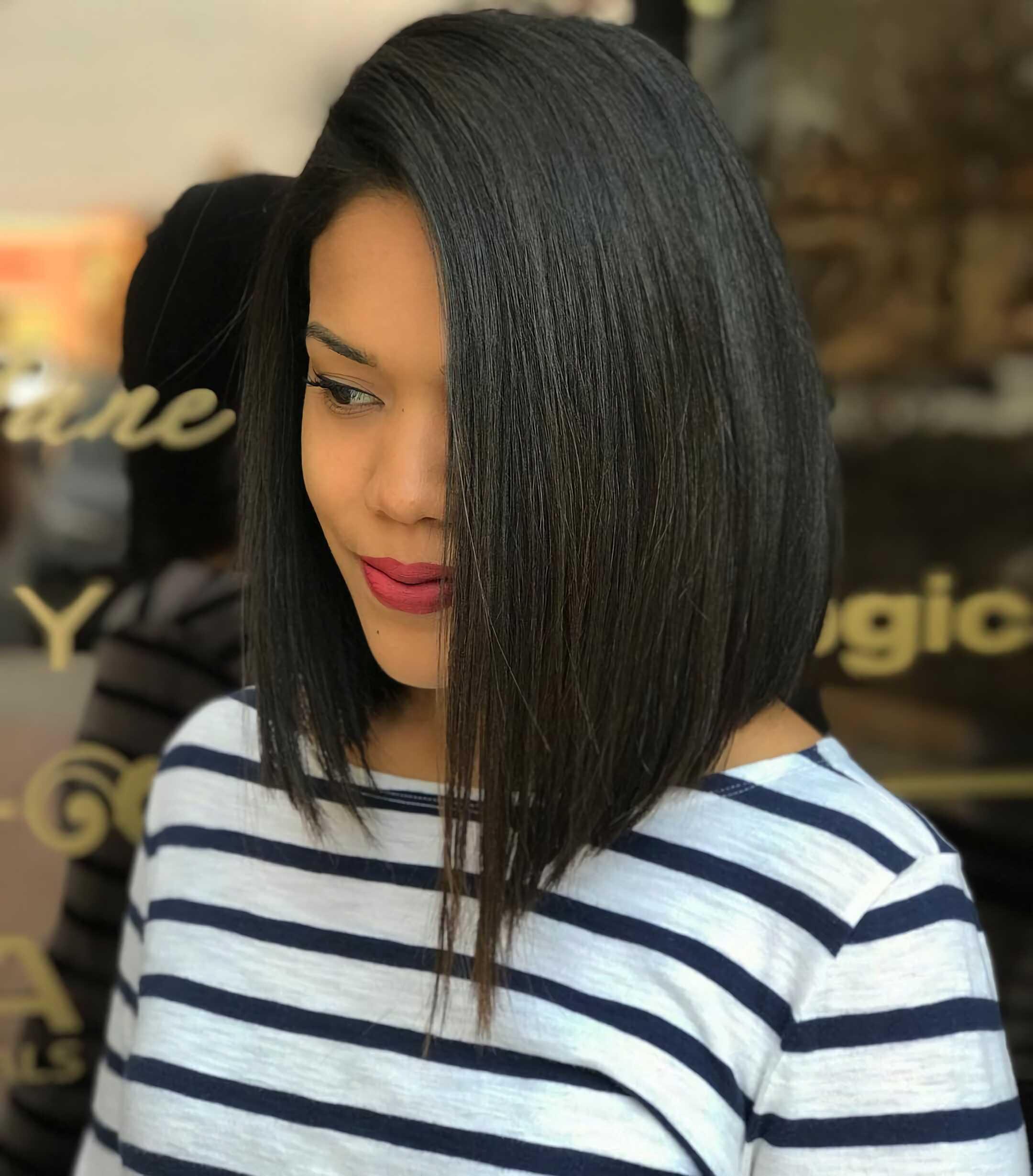 асимметрическая прическа на средние волосы