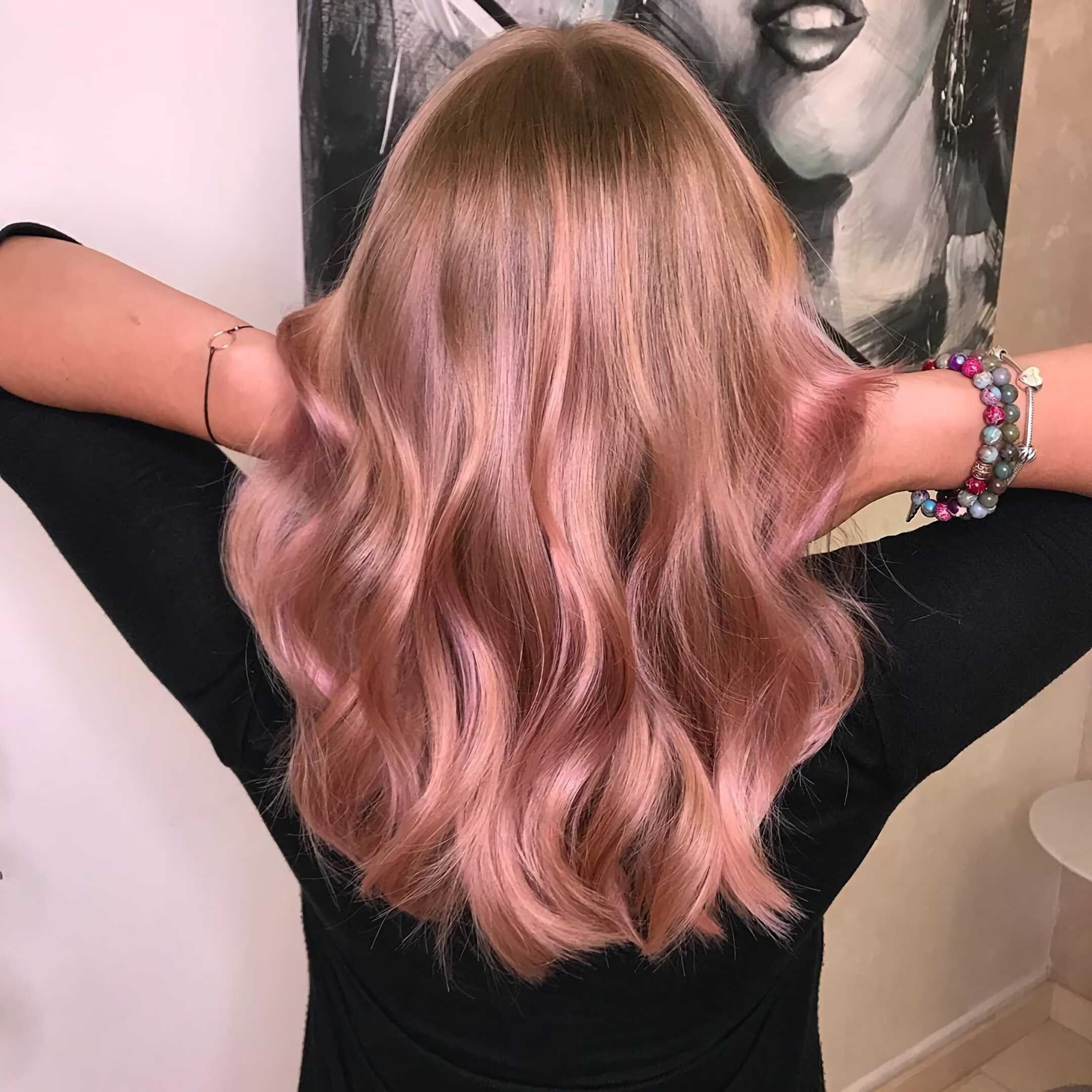 золотисто-розовый балаяж