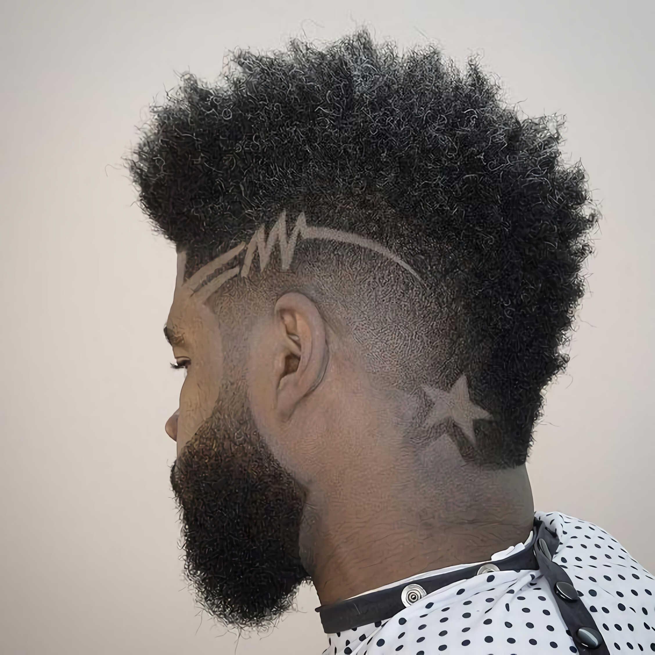 стильный дизайн волос со звездами