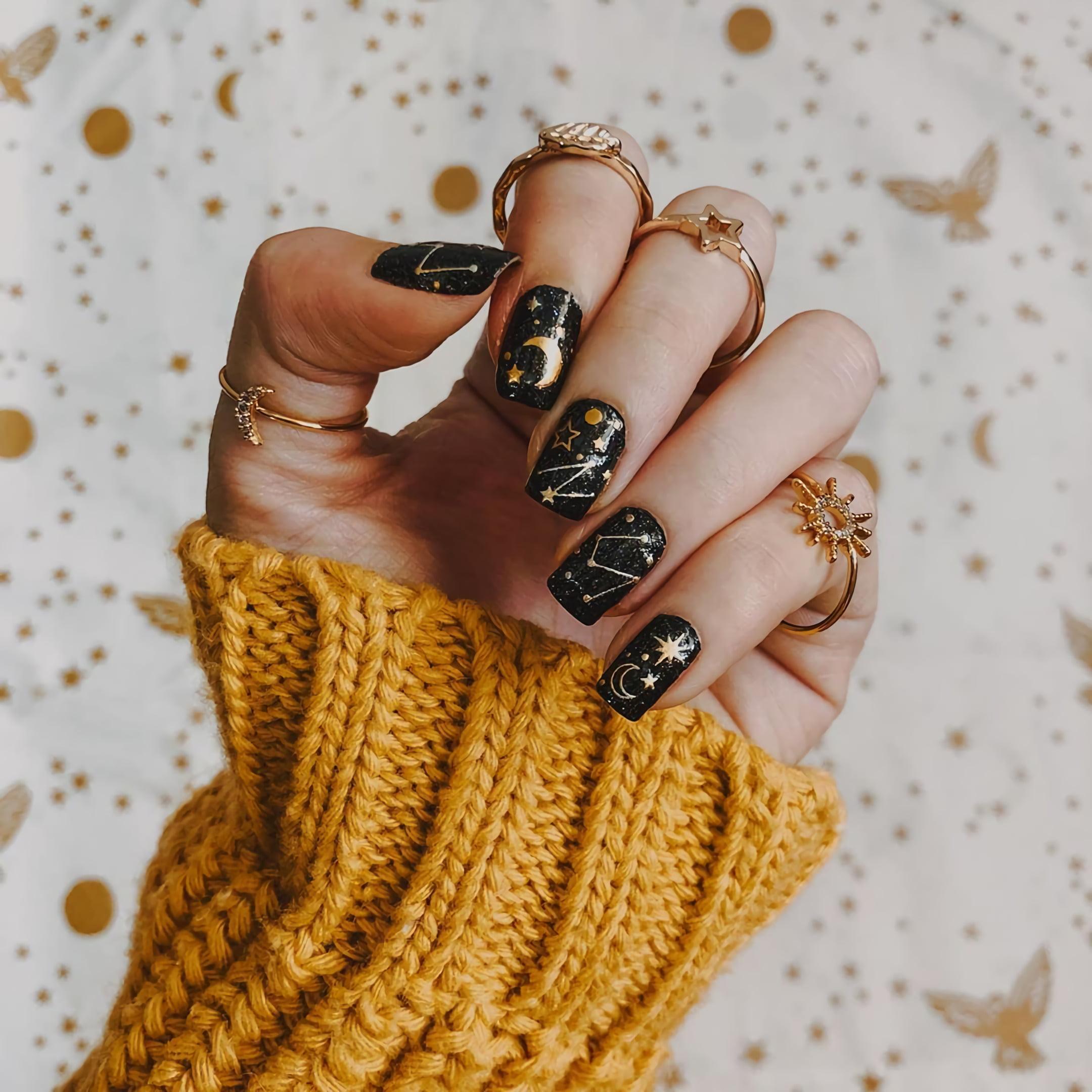 Осенние ногти со звездами