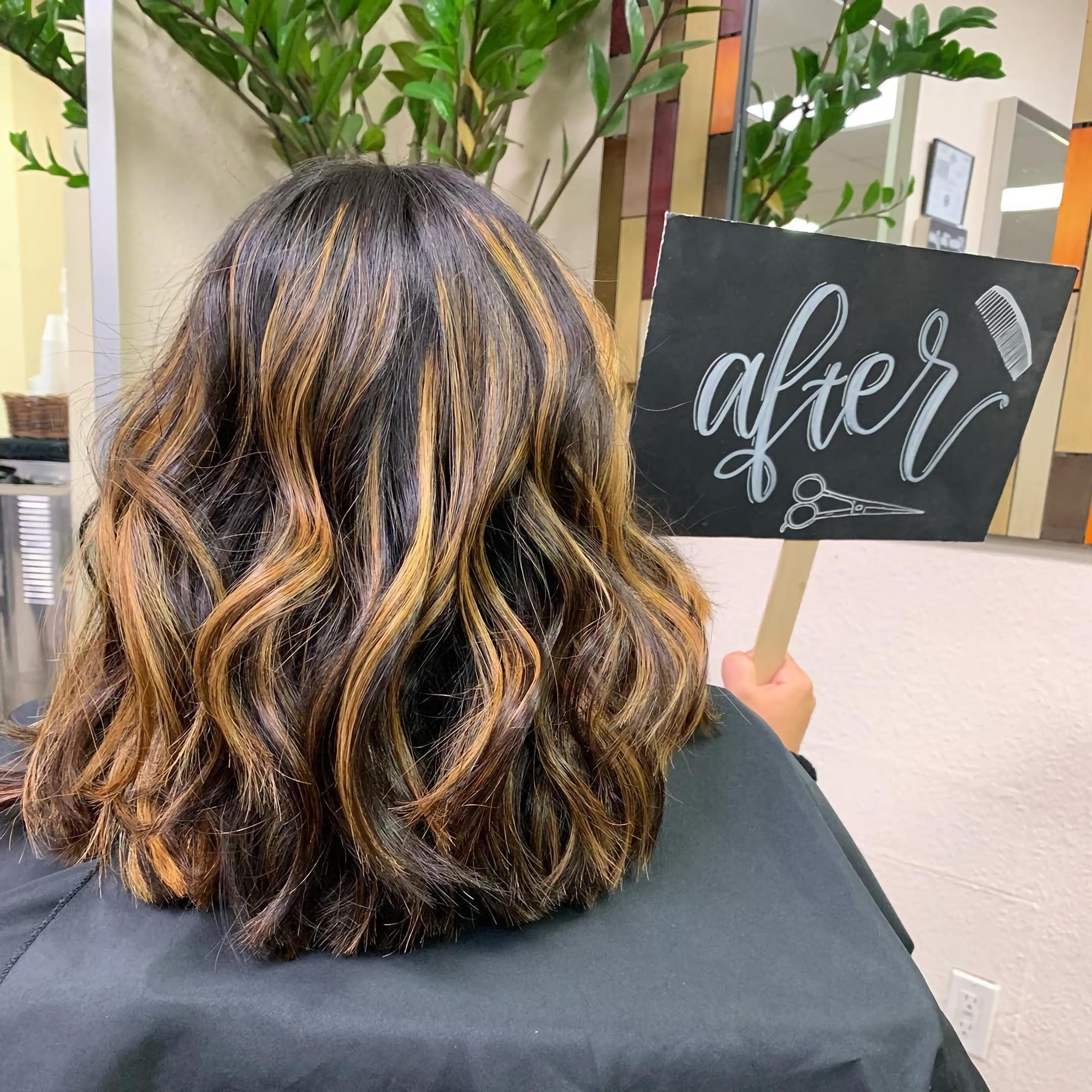 Средние, карамельные волосы