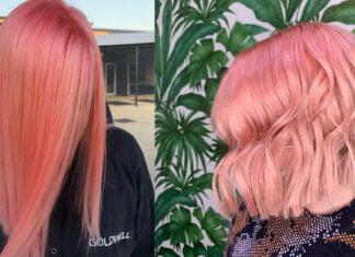 волосы персикового цвета